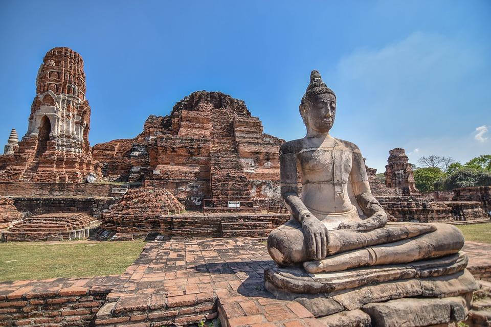 site d'Ayutthaya en Thaïlande et ses vestiges